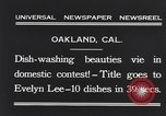 Image of dish washing contest Oakland California USA, 1931, second 10 stock footage video 65675040745