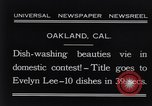 Image of dish washing contest Oakland California USA, 1931, second 12 stock footage video 65675040745