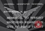Image of Memorial to Wright Brothers erected Kitty Hawk North Carolina USA, 1932, second 3 stock footage video 65675040755