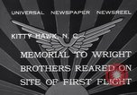 Image of Memorial to Wright Brothers erected Kitty Hawk North Carolina USA, 1932, second 10 stock footage video 65675040755