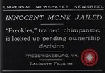 Image of trained chimpanzee Fredericksburg Virginia USA, 1929, second 1 stock footage video 65675041385