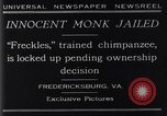 Image of trained chimpanzee Fredericksburg Virginia USA, 1929, second 2 stock footage video 65675041385