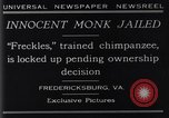 Image of trained chimpanzee Fredericksburg Virginia USA, 1929, second 3 stock footage video 65675041385