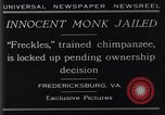 Image of trained chimpanzee Fredericksburg Virginia USA, 1929, second 5 stock footage video 65675041385