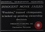 Image of trained chimpanzee Fredericksburg Virginia USA, 1929, second 6 stock footage video 65675041385