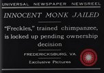 Image of trained chimpanzee Fredericksburg Virginia USA, 1929, second 9 stock footage video 65675041385