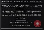 Image of trained chimpanzee Fredericksburg Virginia USA, 1929, second 10 stock footage video 65675041385