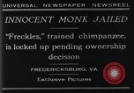 Image of trained chimpanzee Fredericksburg Virginia USA, 1929, second 11 stock footage video 65675041385
