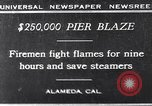 Image of pier blaze Alameda California USA, 1929, second 1 stock footage video 65675041387