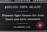 Image of pier blaze Alameda California USA, 1929, second 5 stock footage video 65675041387