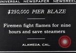 Image of pier blaze Alameda California USA, 1929, second 11 stock footage video 65675041387