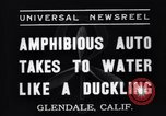 Image of amphibian automobile Glendale California USA, 1937, second 1 stock footage video 65675041422