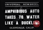 Image of amphibian automobile Glendale California USA, 1937, second 3 stock footage video 65675041422