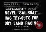 Image of amphibious sailboat Salt Lake City Utah USA, 1938, second 6 stock footage video 65675041439