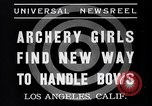 Image of Archery girls Los Angeles California USA, 1937, second 6 stock footage video 65675041450