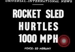 Image of rocket powered sled Muroc California, 1948, second 1 stock footage video 65675041471