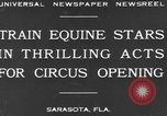 Image of Zebras and horses in circus Sarasota Florida USA, 1930, second 2 stock footage video 65675041973