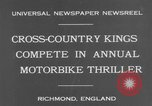 Image of motor bike race Richmond England, 1931, second 8 stock footage video 65675041981