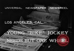 Image of unicycle Los Angeles California USA, 1933, second 1 stock footage video 65675042743