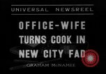 Image of Office wife turns cook Chicago Illinois USA, 1936, second 2 stock footage video 65675043759