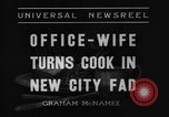 Image of Office wife turns cook Chicago Illinois USA, 1936, second 6 stock footage video 65675043759