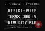 Image of Office wife turns cook Chicago Illinois USA, 1936, second 9 stock footage video 65675043759