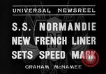 Image of SS Normandie New York United States USA, 1935, second 10 stock footage video 65675044070