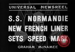 Image of SS Normandie New York United States USA, 1935, second 11 stock footage video 65675044070