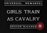 Image of girls train as calvary Culver City California USA, 1934, second 1 stock footage video 65675044117
