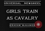 Image of girls train as calvary Culver City California USA, 1934, second 4 stock footage video 65675044117