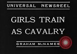 Image of girls train as calvary Culver City California USA, 1934, second 5 stock footage video 65675044117