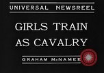 Image of girls train as calvary Culver City California USA, 1934, second 6 stock footage video 65675044117
