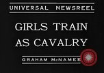 Image of girls train as calvary Culver City California USA, 1934, second 7 stock footage video 65675044117
