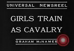 Image of girls train as calvary Culver City California USA, 1934, second 8 stock footage video 65675044117