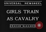 Image of girls train as calvary Culver City California USA, 1934, second 9 stock footage video 65675044117