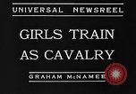Image of girls train as calvary Culver City California USA, 1934, second 10 stock footage video 65675044117