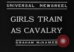 Image of girls train as calvary Culver City California USA, 1934, second 11 stock footage video 65675044117