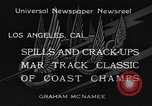 Image of West Coast Track Classic Los Angeles California USA, 1934, second 10 stock footage video 65675044373