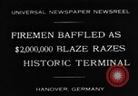 Image of fire at storage depot Hanover Germany, 1930, second 1 stock footage video 65675044380