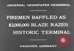 Image of fire at storage depot Hanover Germany, 1930, second 2 stock footage video 65675044380