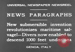 Image of special diving equipment Genoa Italy, 1930, second 2 stock footage video 65675044381
