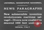 Image of special diving equipment Genoa Italy, 1930, second 3 stock footage video 65675044381