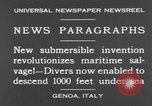 Image of special diving equipment Genoa Italy, 1930, second 6 stock footage video 65675044381