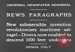 Image of special diving equipment Genoa Italy, 1930, second 7 stock footage video 65675044381