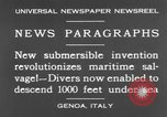 Image of special diving equipment Genoa Italy, 1930, second 8 stock footage video 65675044381
