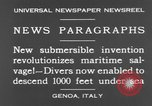 Image of special diving equipment Genoa Italy, 1930, second 9 stock footage video 65675044381
