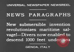 Image of special diving equipment Genoa Italy, 1930, second 10 stock footage video 65675044381