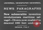 Image of special diving equipment Genoa Italy, 1930, second 12 stock footage video 65675044381