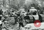Image of American troops and French tanks in World War I France, 1918, second 12 stock footage video 65675044427