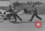 Image of testing a winged ornithopter bicycle United States USA, 1937, second 9 stock footage video 65675044894